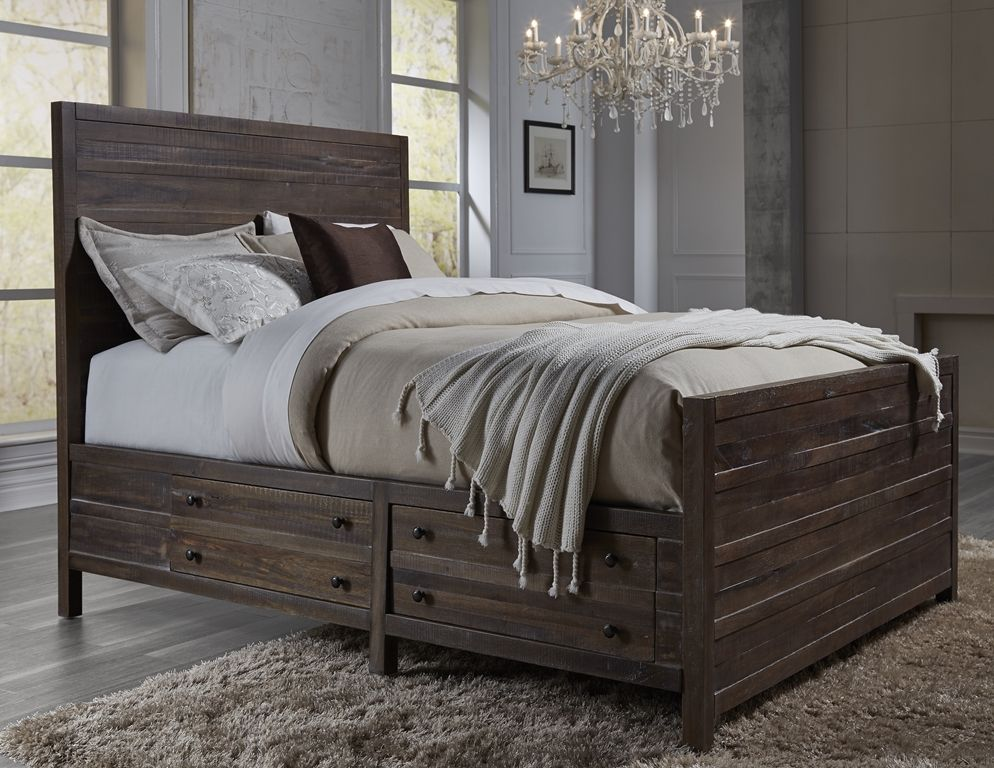 Image of: Rustic Storage Bed and Chandelier