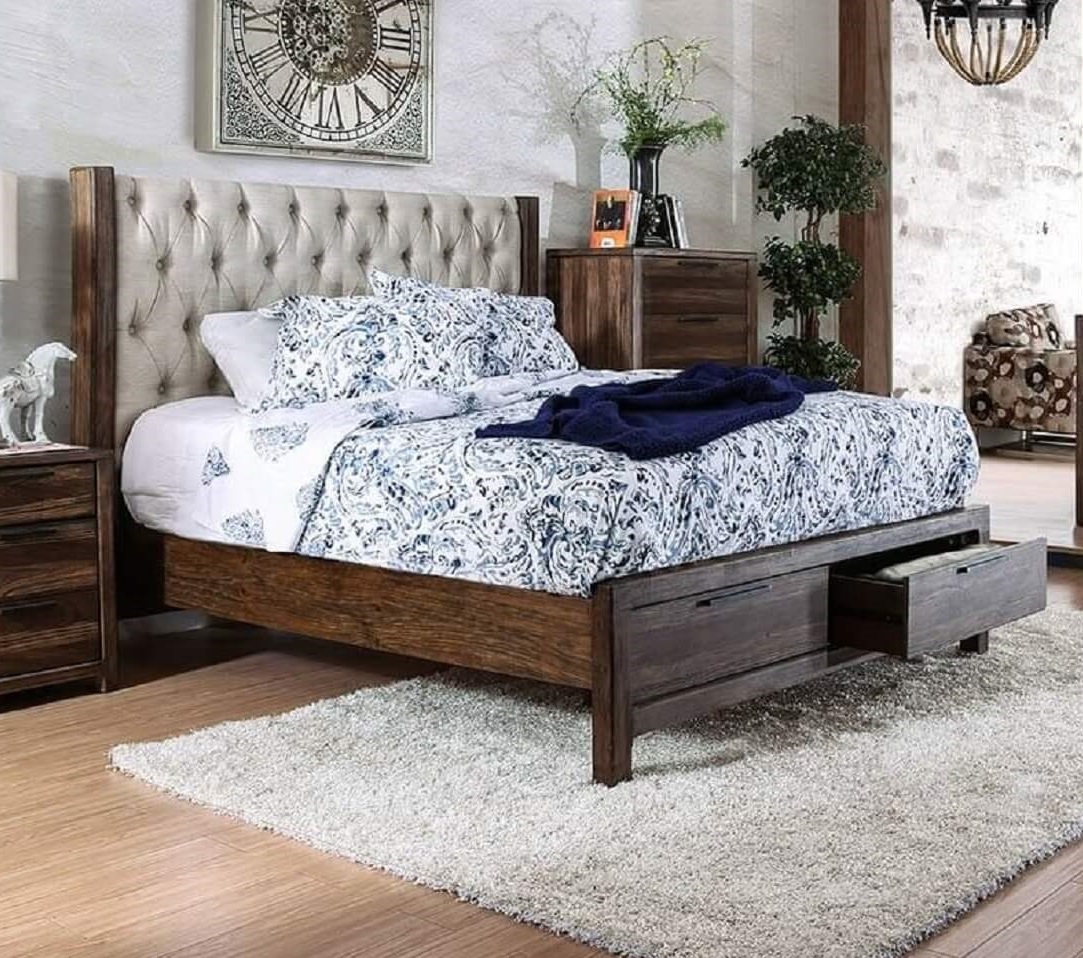 Rustic Storage Bed and Rugs