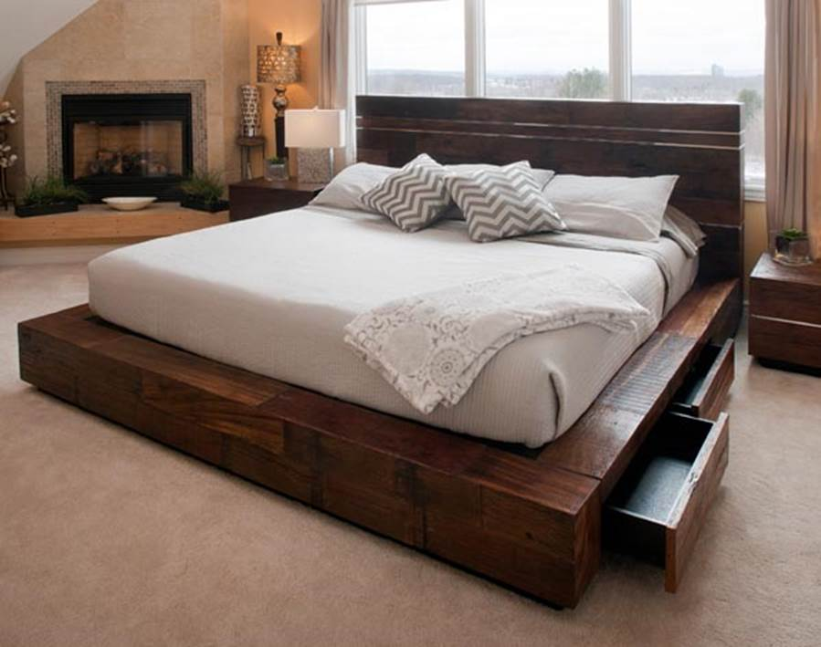 Image of: Rustic Storage Bed and Table Lamp
