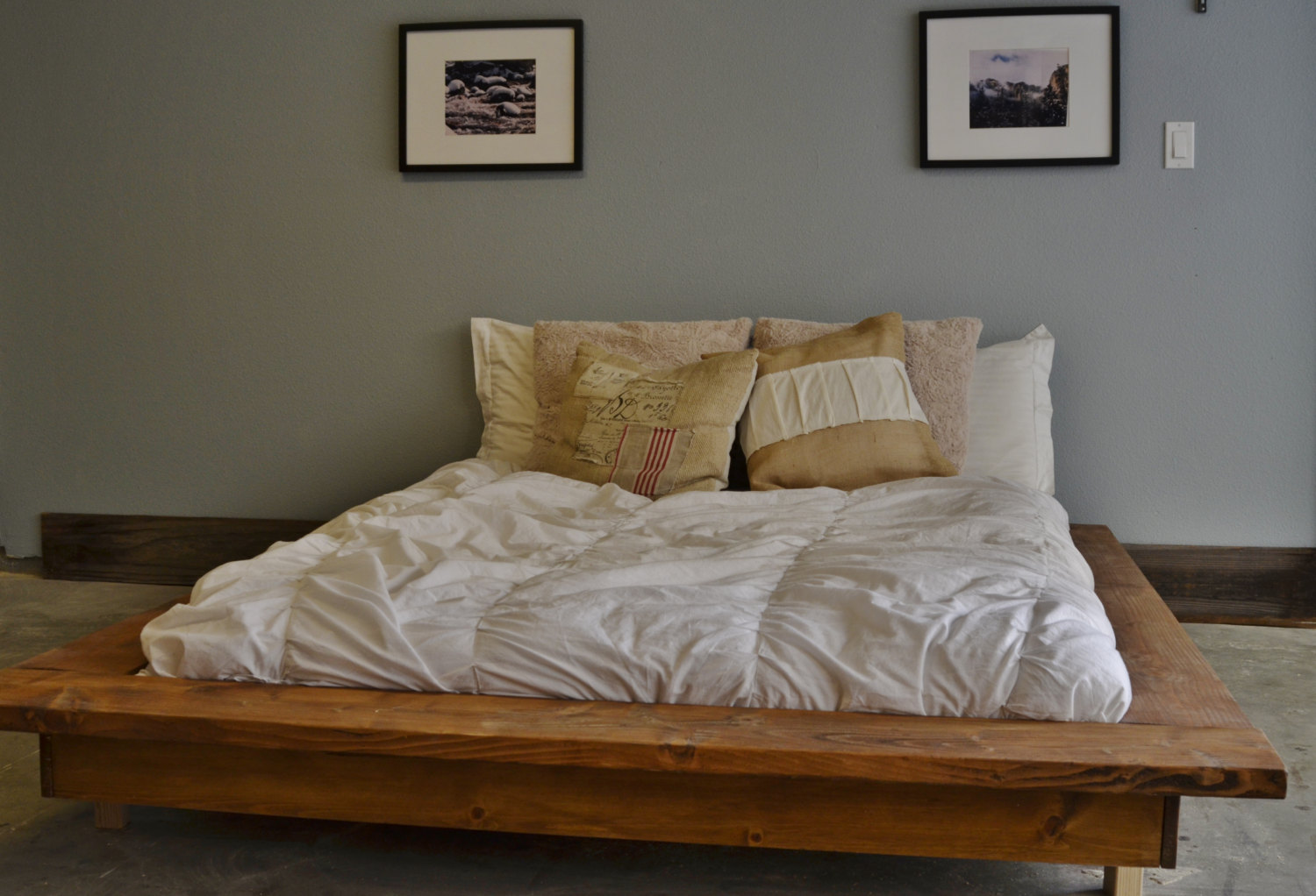 Rustic Wood Platform Bed With Storage