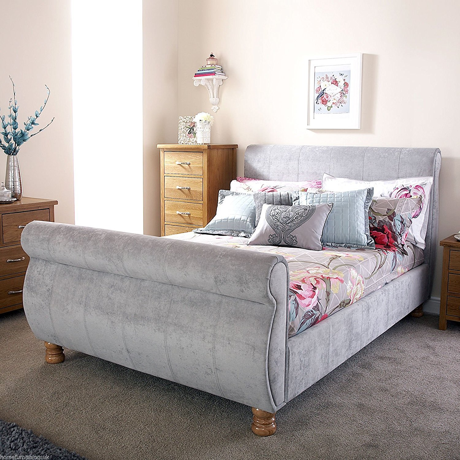 Image of: Sleigh Bed with Storage Gray