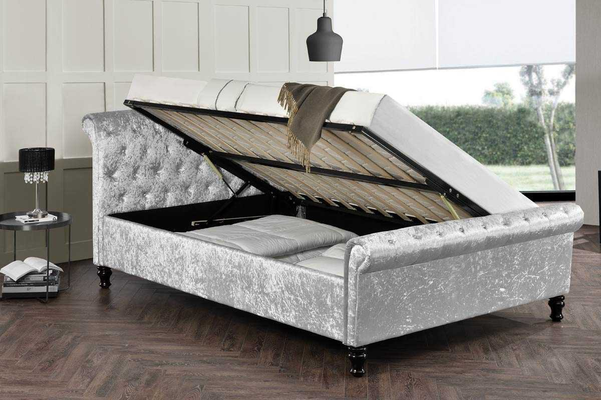 Image of: Sleigh Bed with Storage Silver