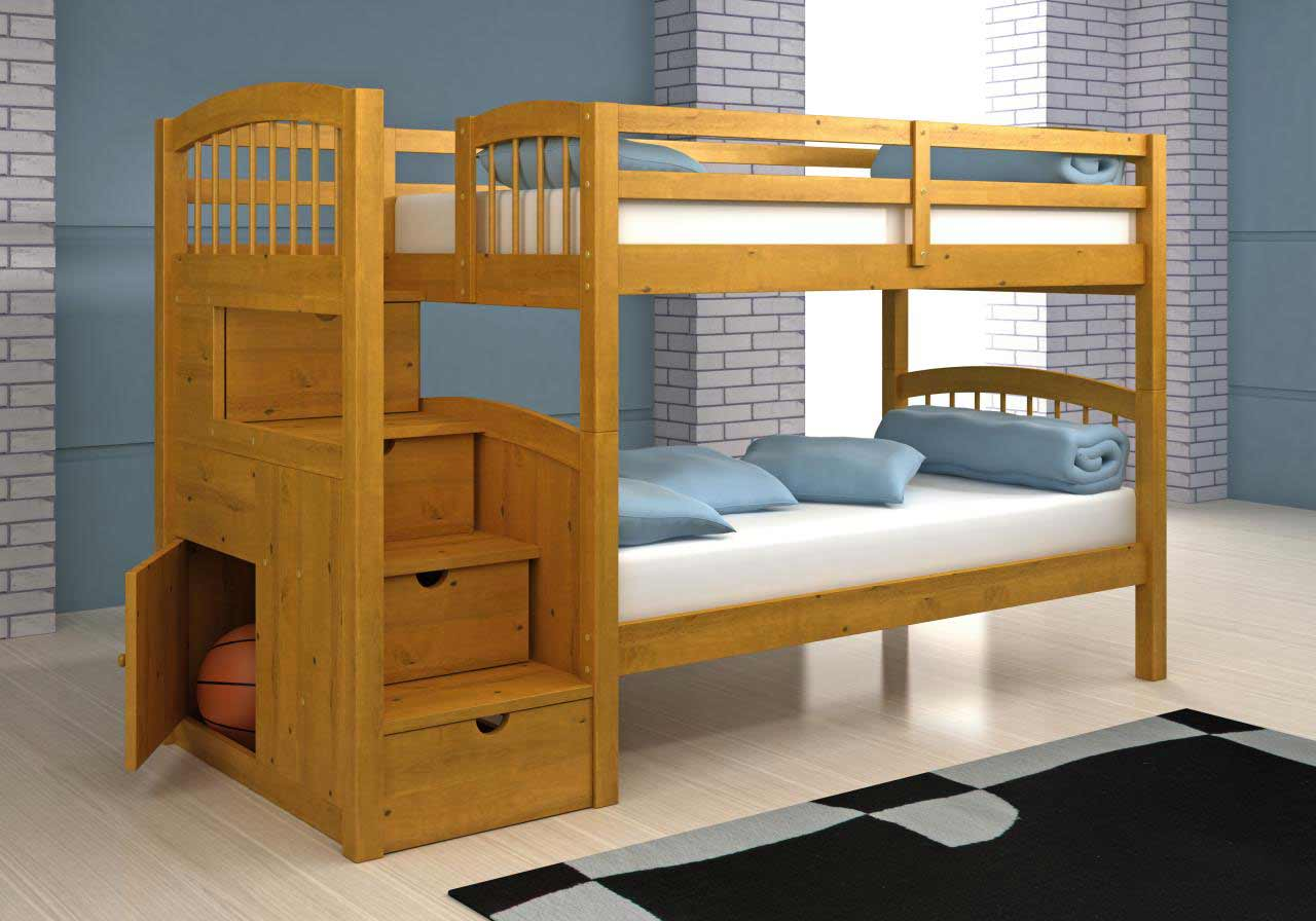 Image of: Small Bunk Bed with Storage Stairs