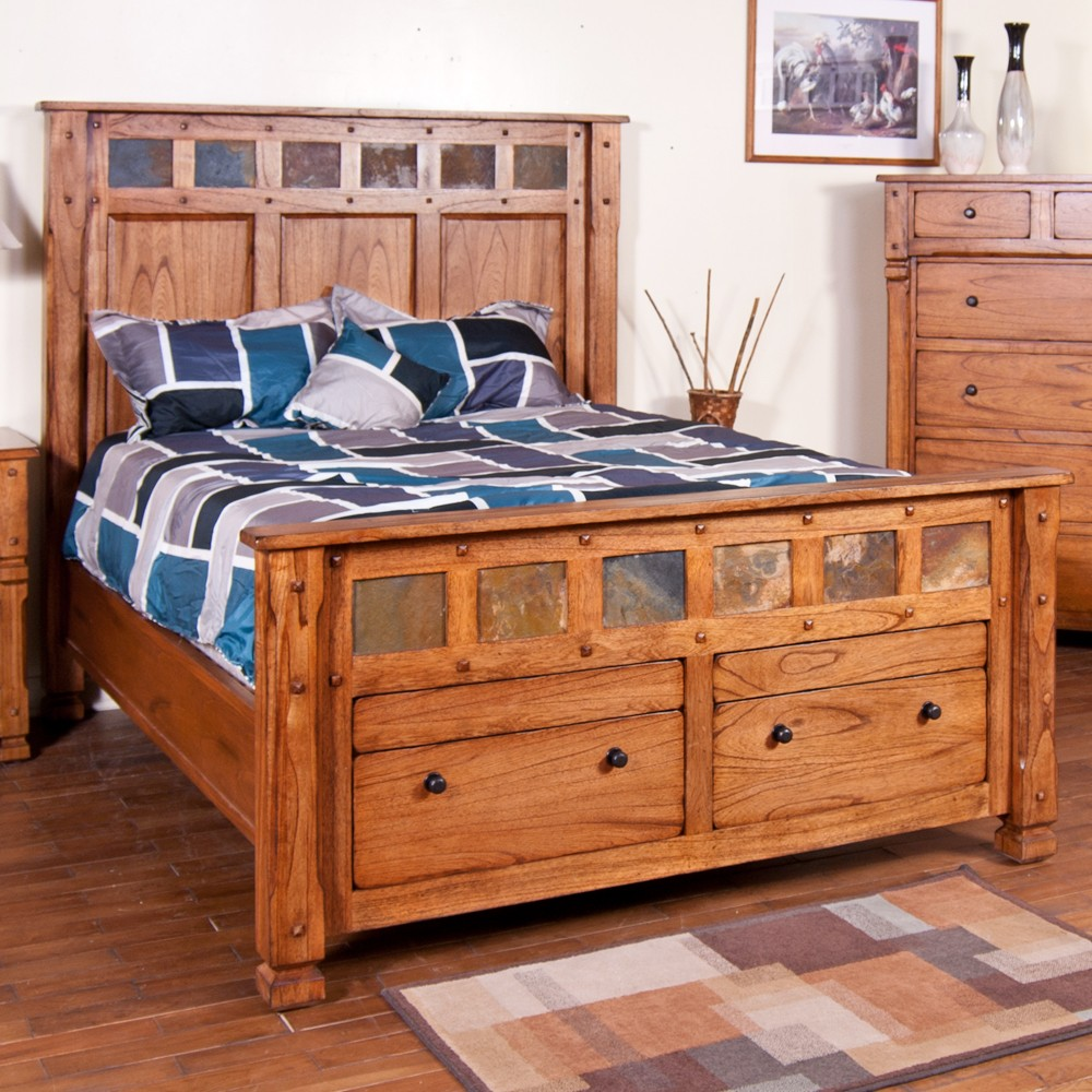 Image of: Small Rustic Storage Bed