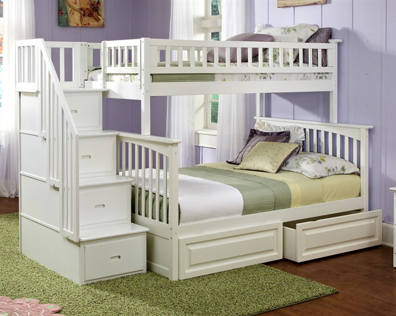 Picture of: Small Twin over Full Bunk Bed with Storage