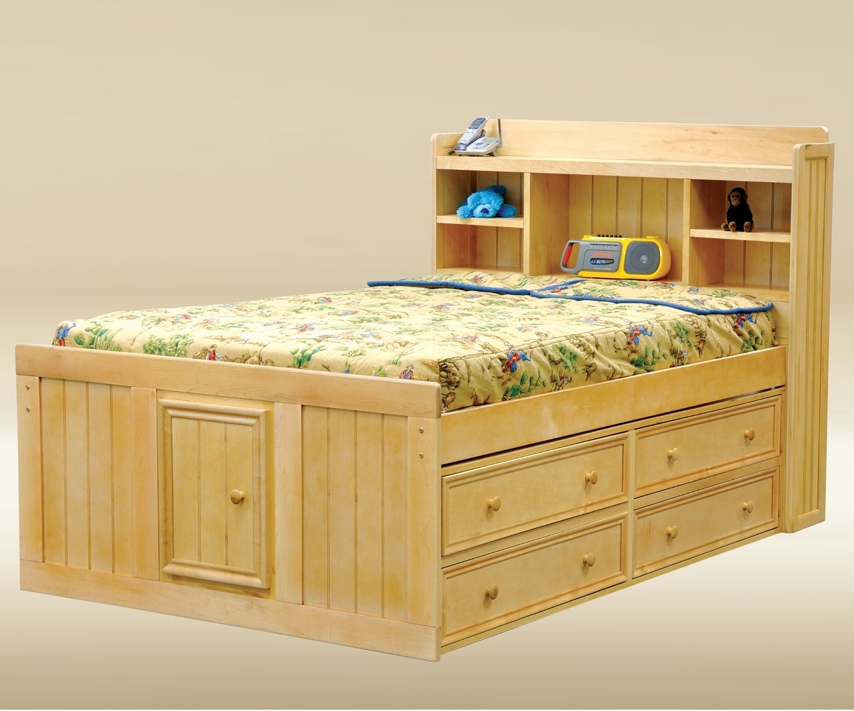 Image of: Solid Hardwood Solid Wood Twin Bed with Storage