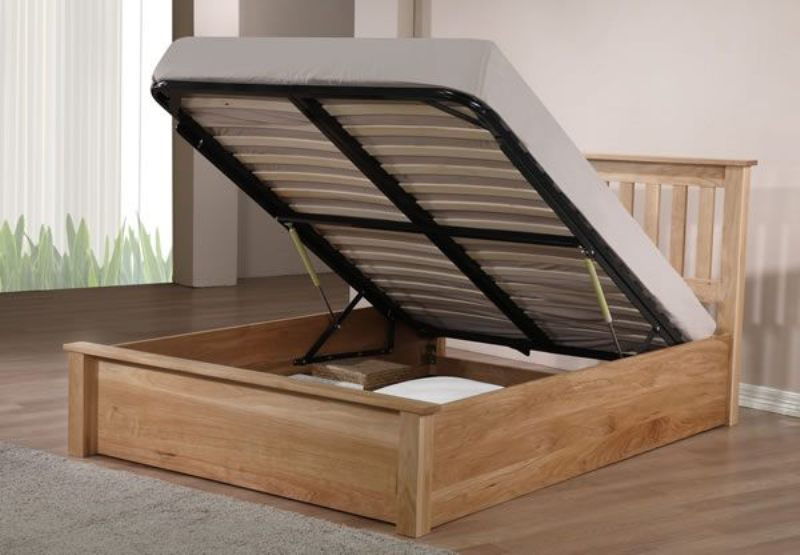 Picture of: Solid Oak Ottoman Storage Bed