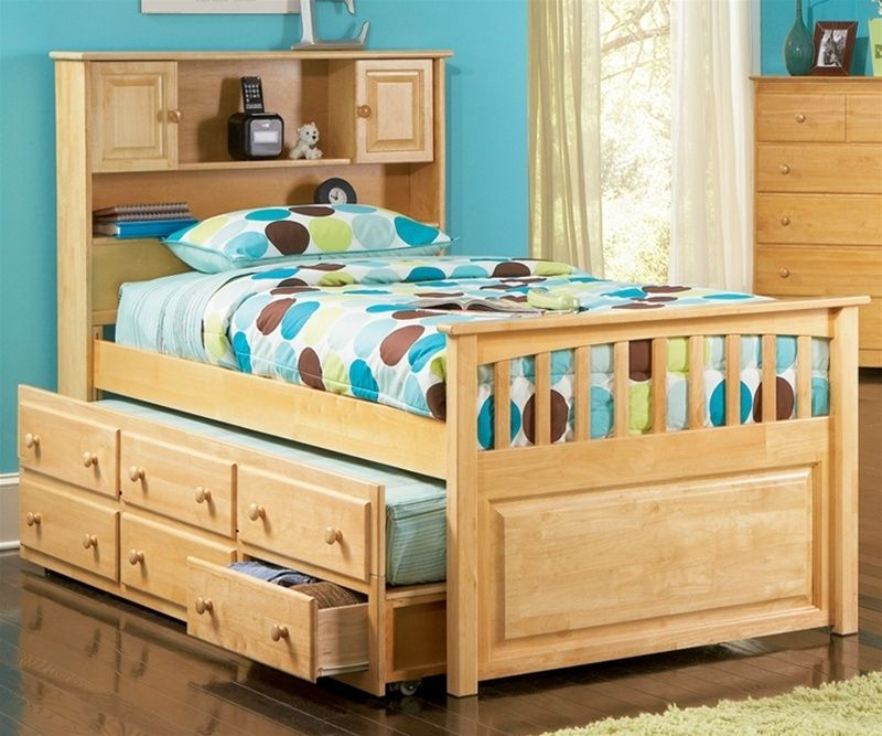 Picture of: Solid Twin Bed With Trundle And Storage