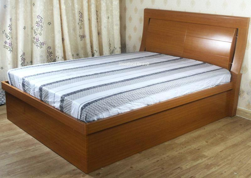 Image of: Solid Wood Bed Frame With Storage