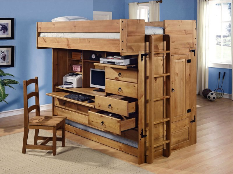 Image of: Solid Wood Loft Bed With Storage