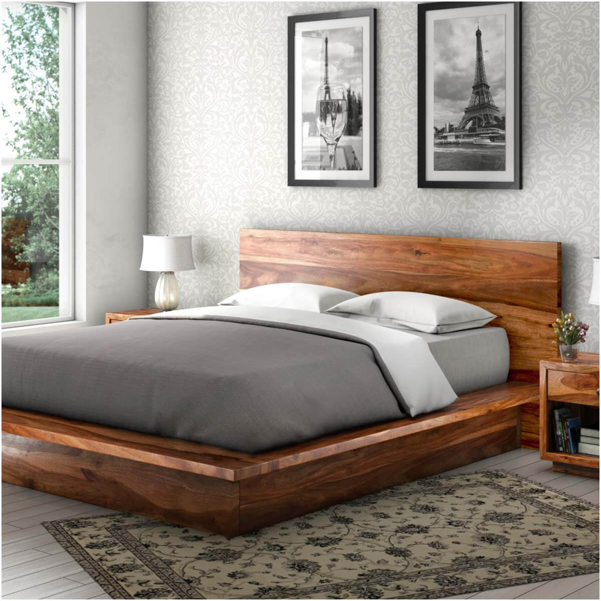 Picture of: Solid Wood Platform Bed With Storage