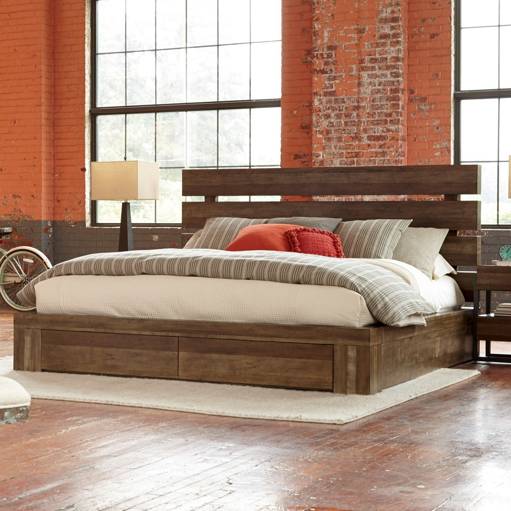 Image of: Solid Wood Storage Bed King