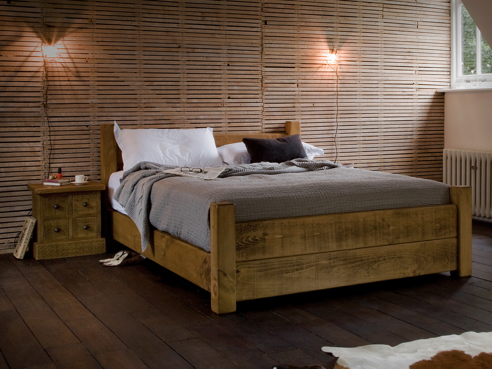 Image of: Solid Wood Storage Bed Models