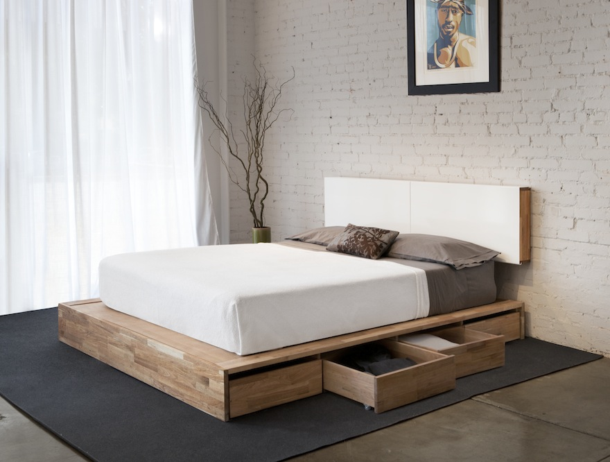 Image of: Solid Wood Storage Bed Type