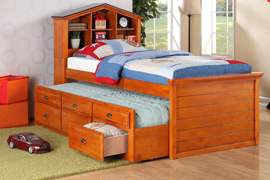 Image of: Solid Wood Twin Bed with Storage Bed