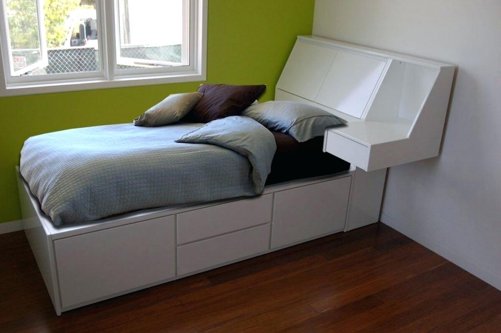 Image of: Solid Wood Twin Bed with Storage Frame
