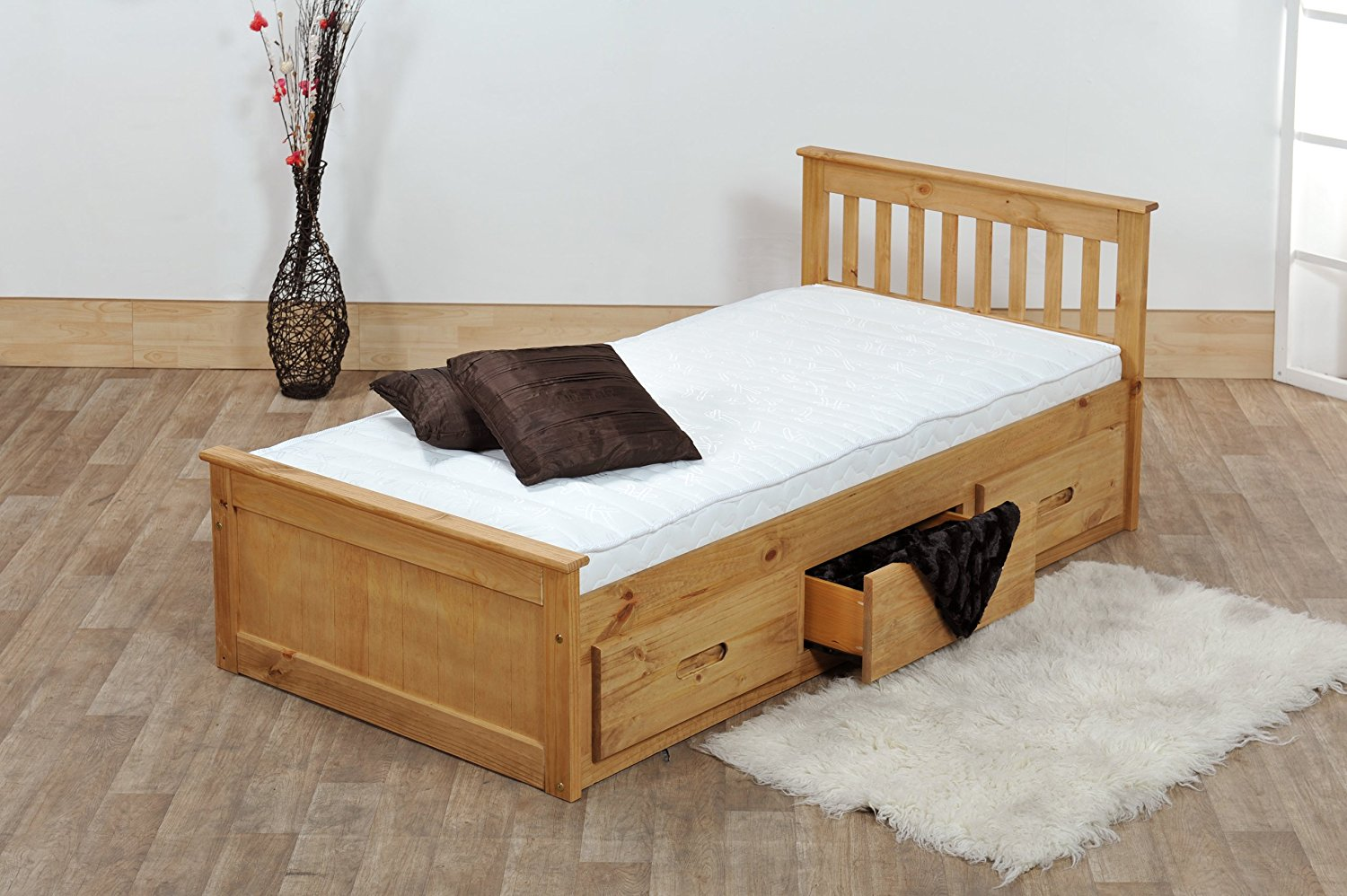 Image of: Solid Wood Twin Bed with Storage Mattress
