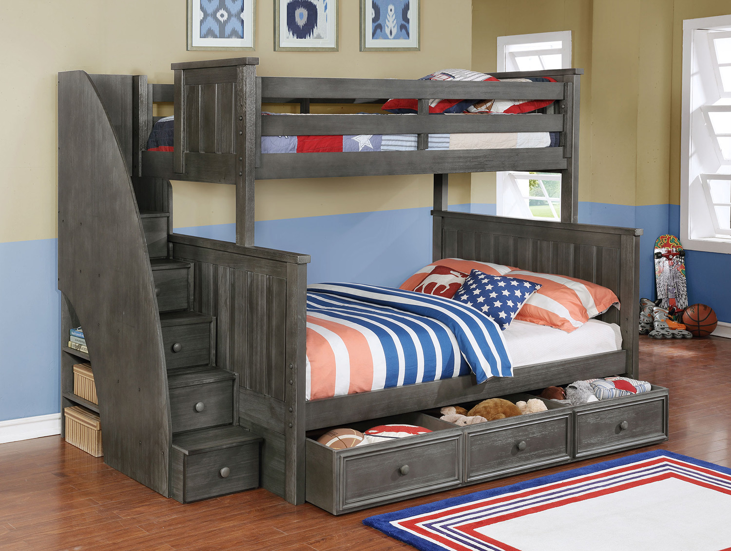 Picture of: Traditional Twin over Twin Bunk Beds with Storage