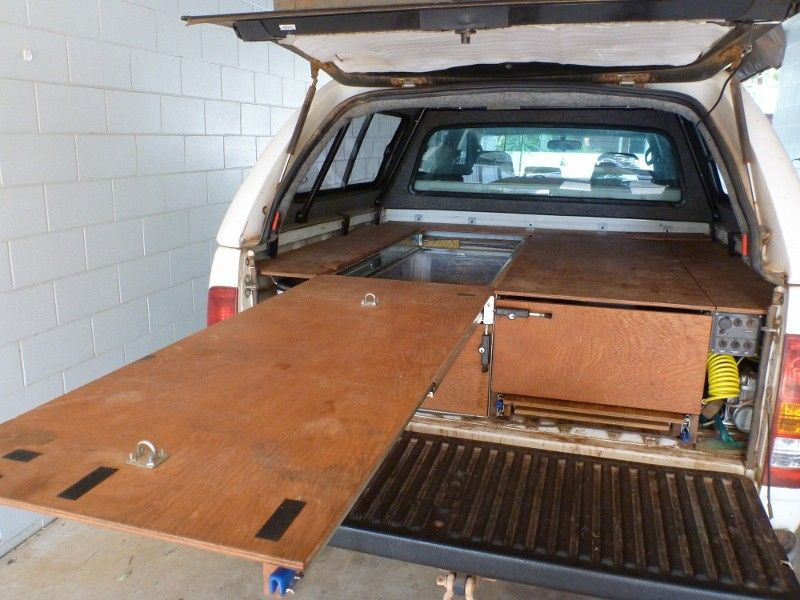 Image of: Truck Bed Plywood Slide Out Storage