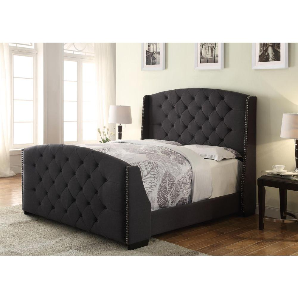 Tufted Upholstered King Bed With Storage