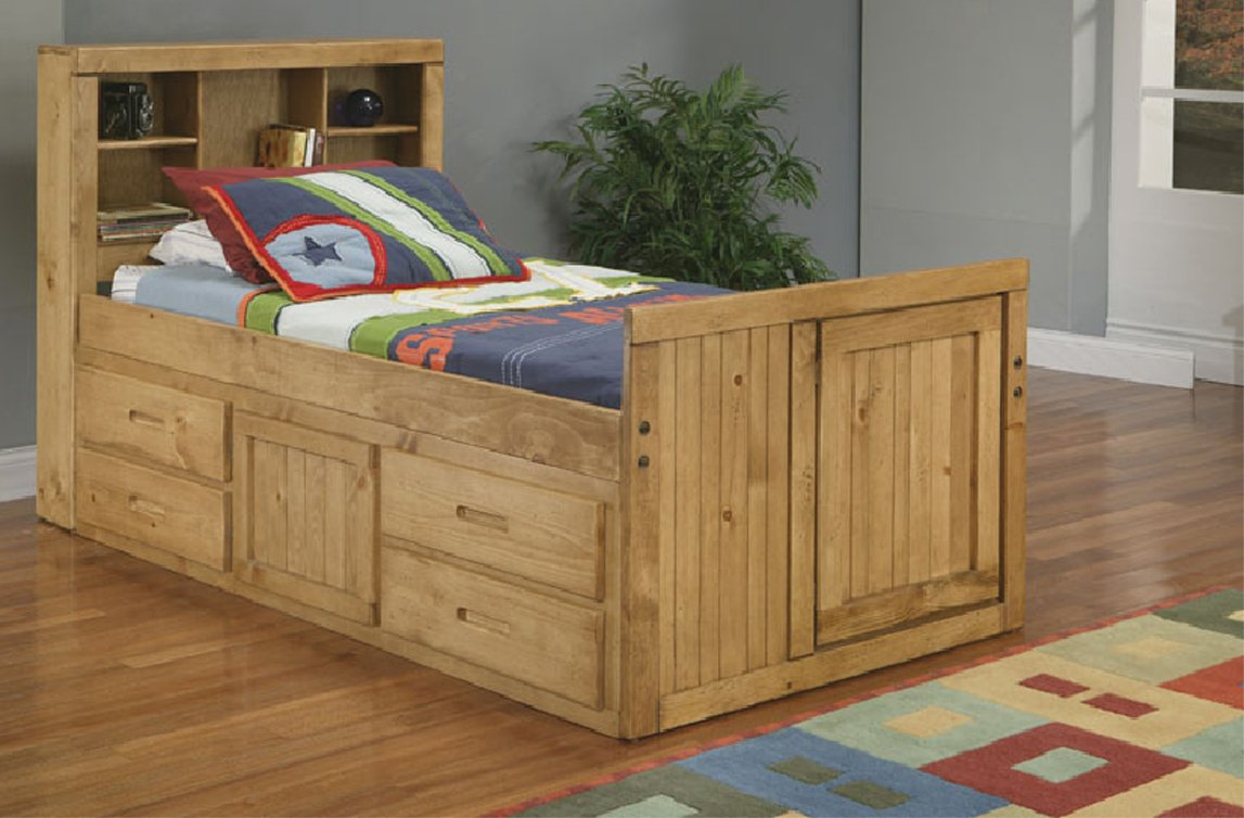 Picture of: Twin Captains Bed With Storage and Bookcase Headboard