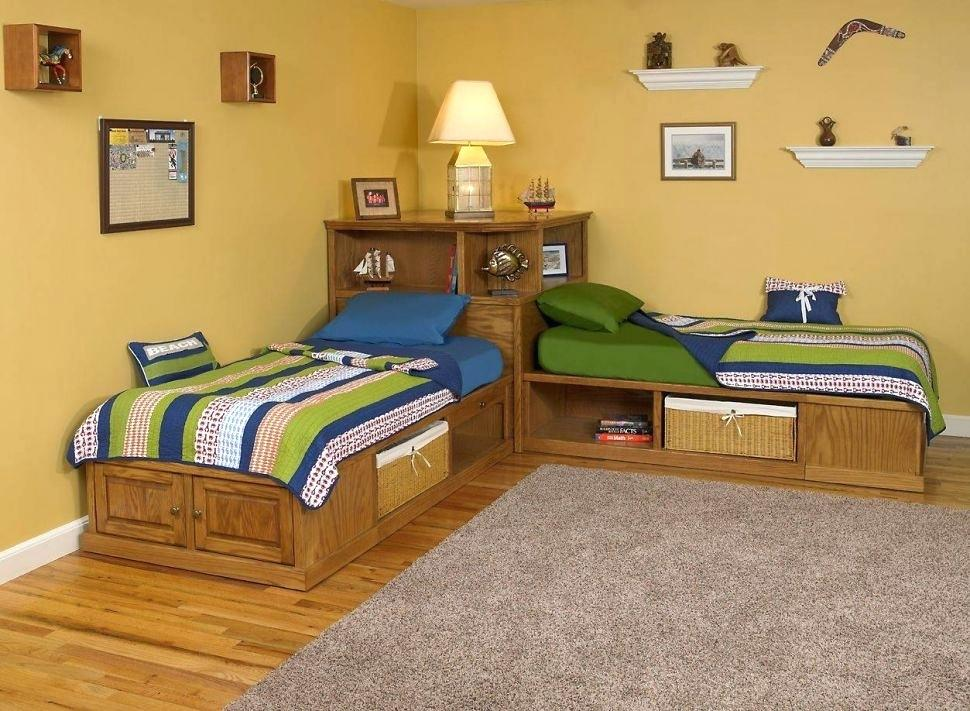 Image of: Twin Corner Beds With Storage and Headboard