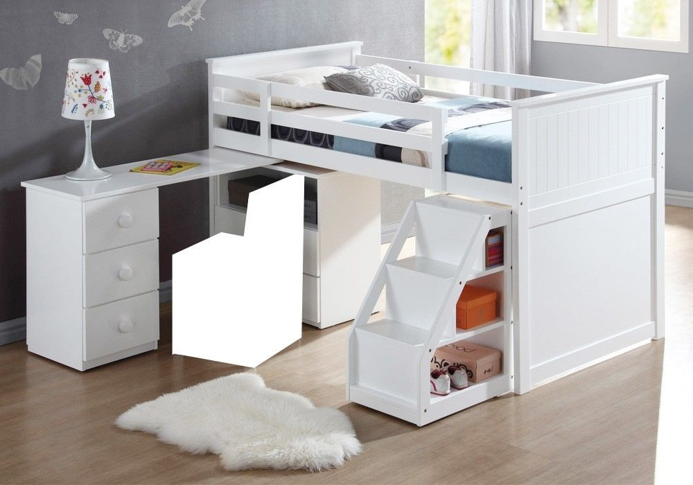 Twin Loft Bed With Desk And Storage Contemporary
