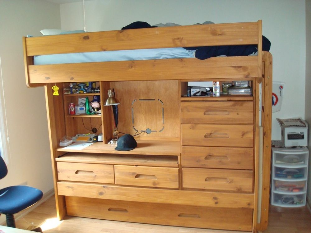 Picture of: Twin Loft Bed With Desk And Storage Popular