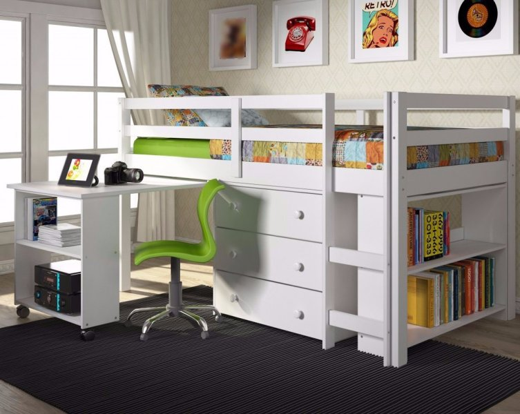 Picture of: Twin Loft Bed With Storage And Desk