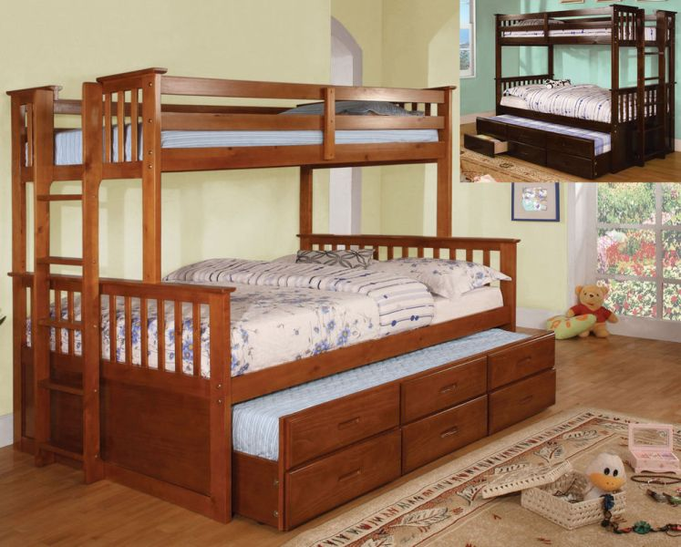 Twin Over Twin Bunk Bed With Trundle And Storage Drawers