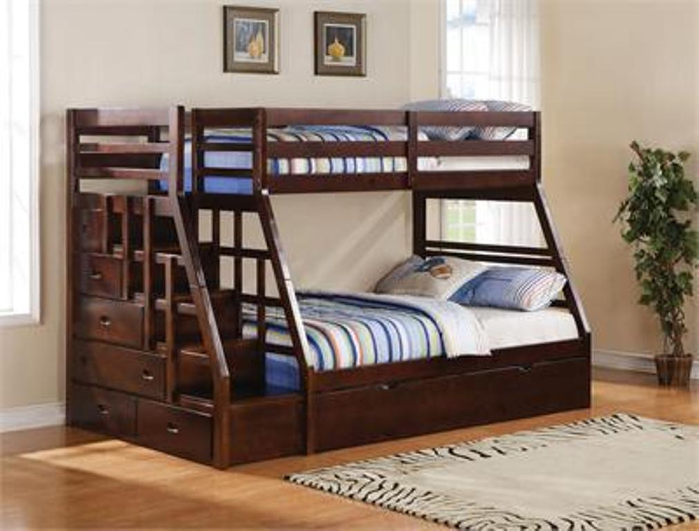 Twin over Full Bunk Bed with Storage Paint