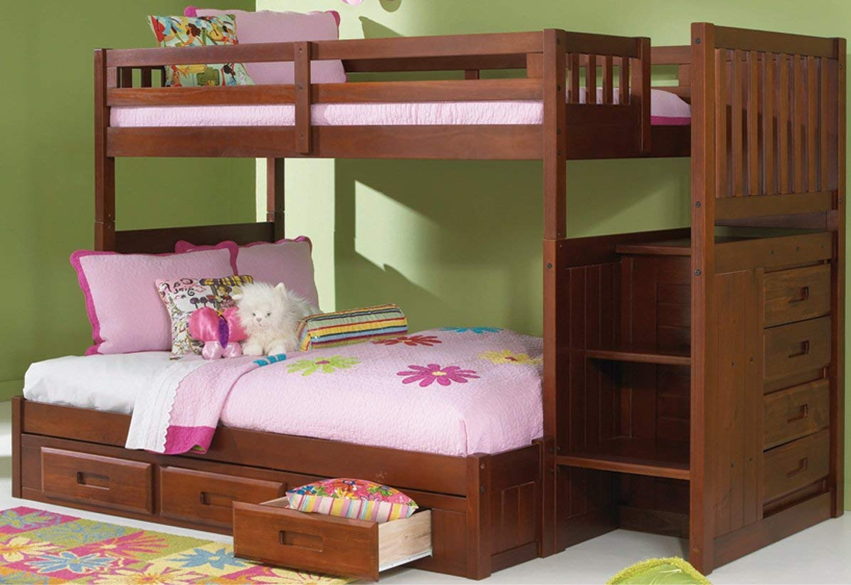 Image of: Twin over Twin Bunk Beds with Storage Plan