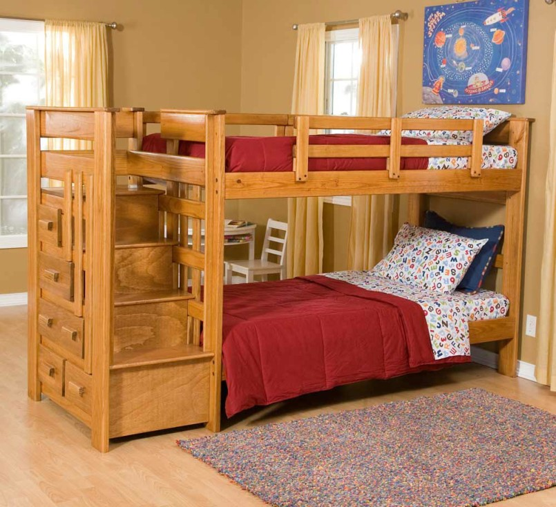 Image of: Unusual Bunk Bed with Storage Stairs