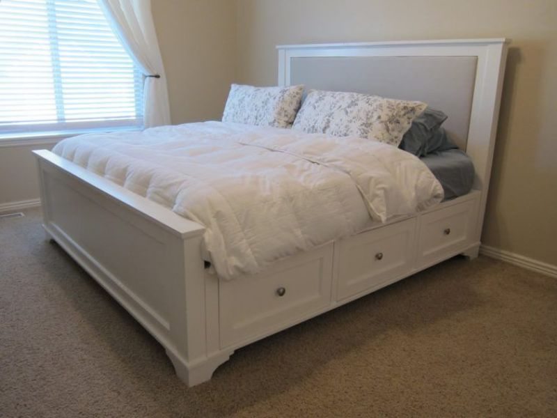 Upholstered King Size Bed With Storage