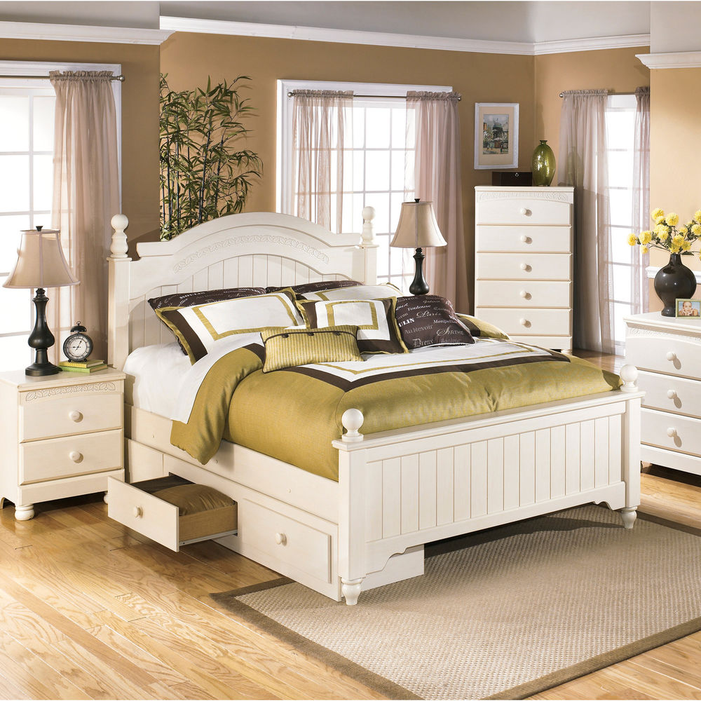 Picture of: White Ashley Furniture Storage Bed