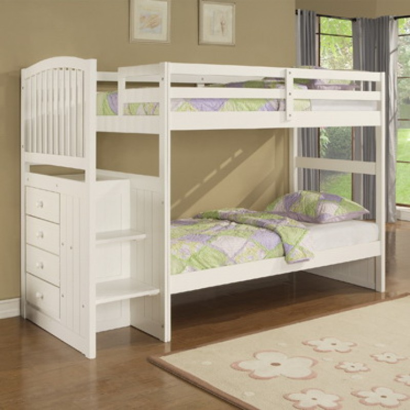 Image of: White Bunk Bed with Storage Stairs