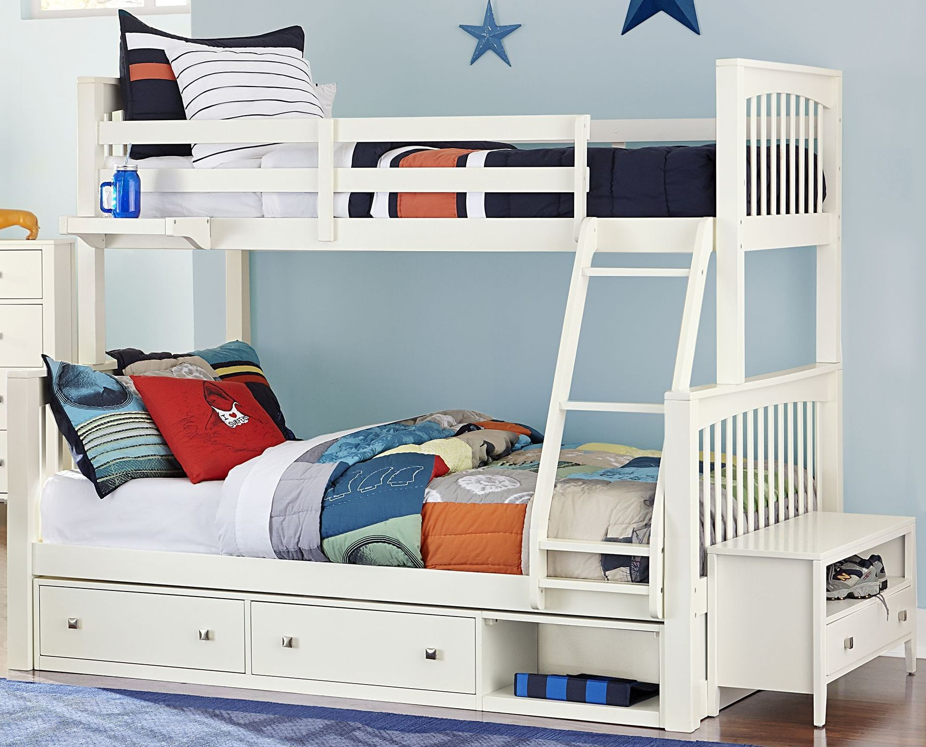 White Bunk Beds With Storage Bench