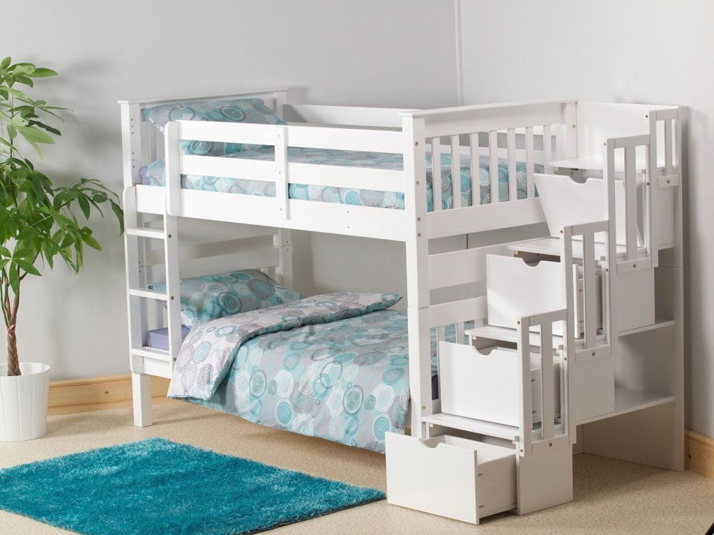 Picture of: White Bunk Beds With Storage Shaped