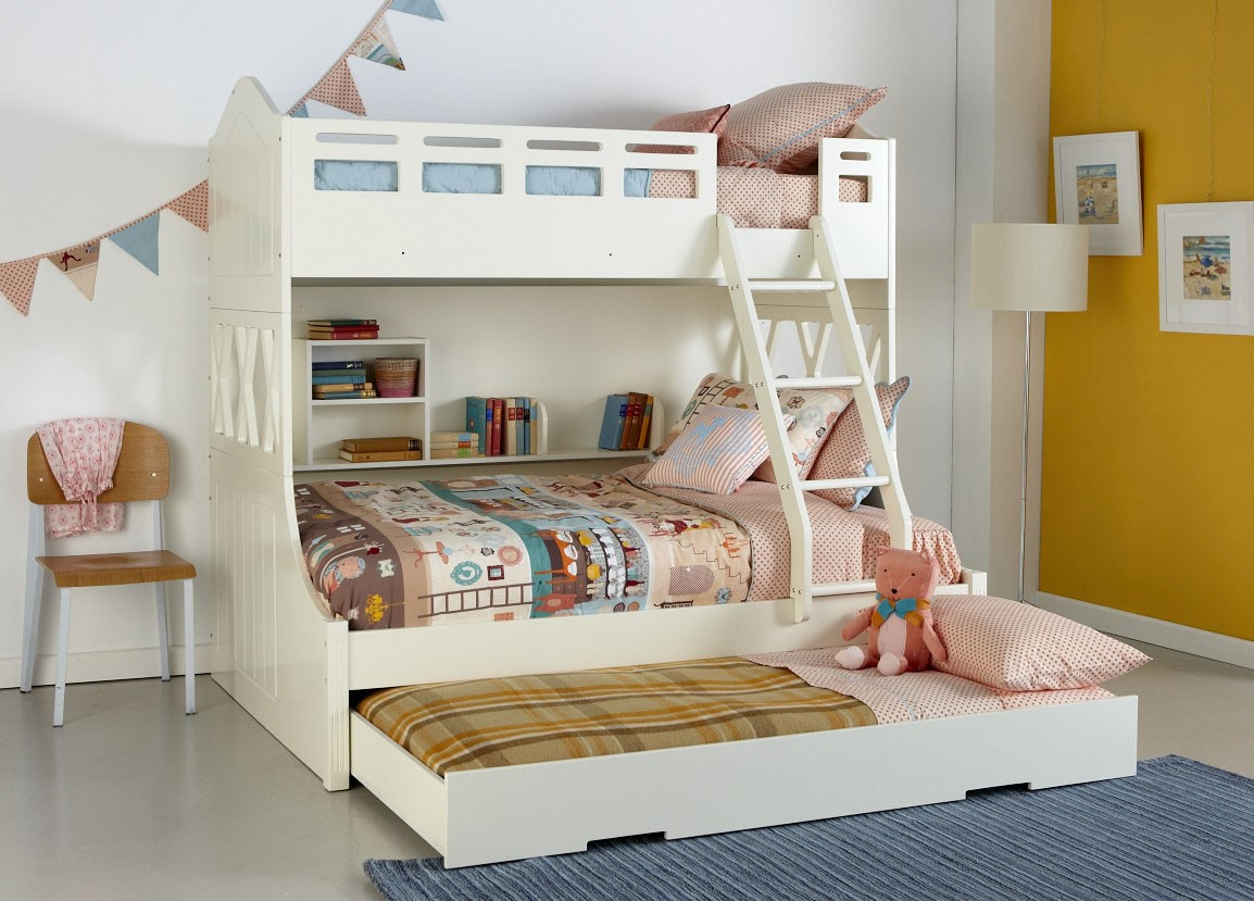White Bunk Beds With Storage Solid