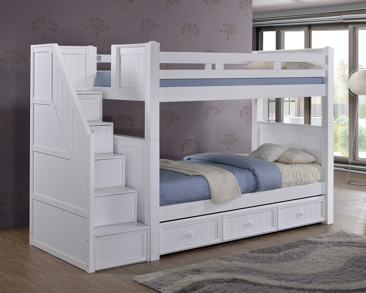 Picture of: White Bunk Beds With Storage Steps
