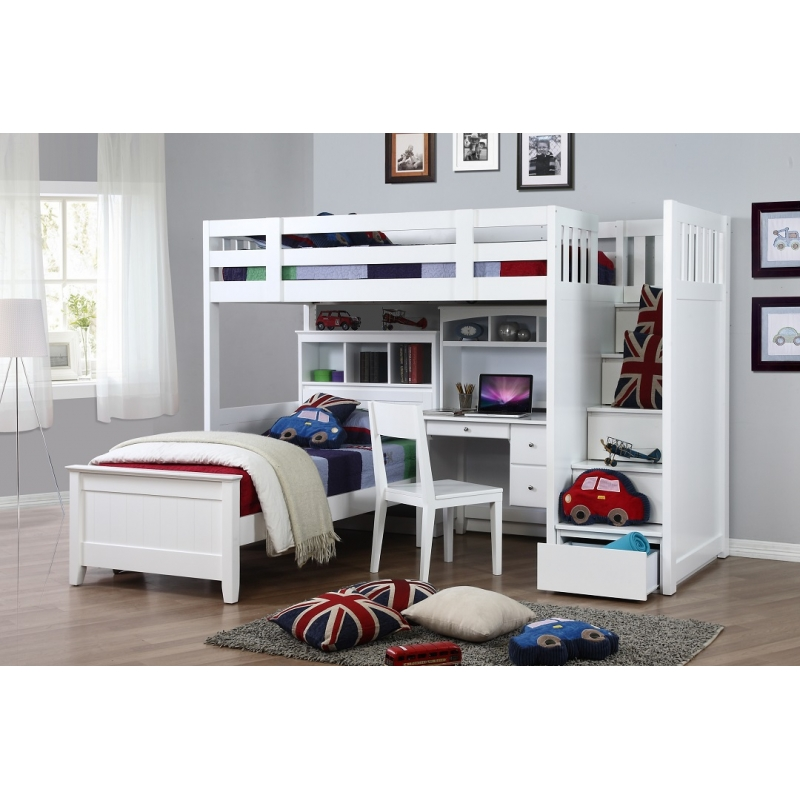 White Bunk Beds With Storage and Desk