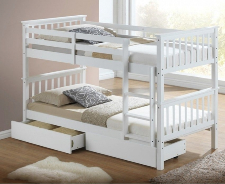 Image of: White Bunk Beds With Storage