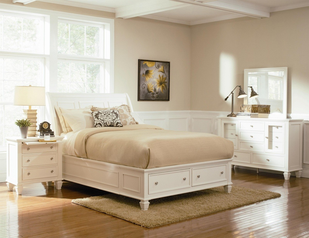 White DIY Platform Bed with Storage