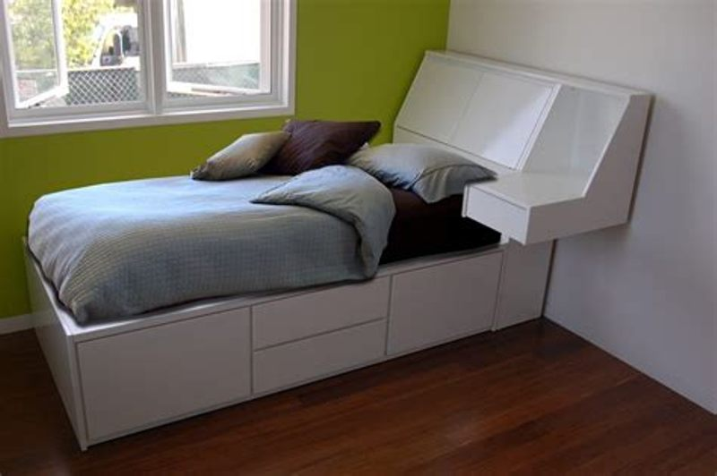 White Double Bed With Storage