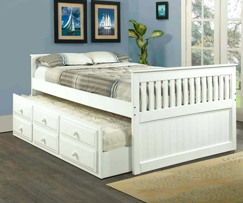 Image of: White Full Size Captains Bed With Storage