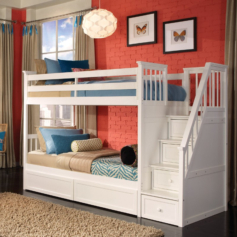 White Kids Bunk Beds with Storage