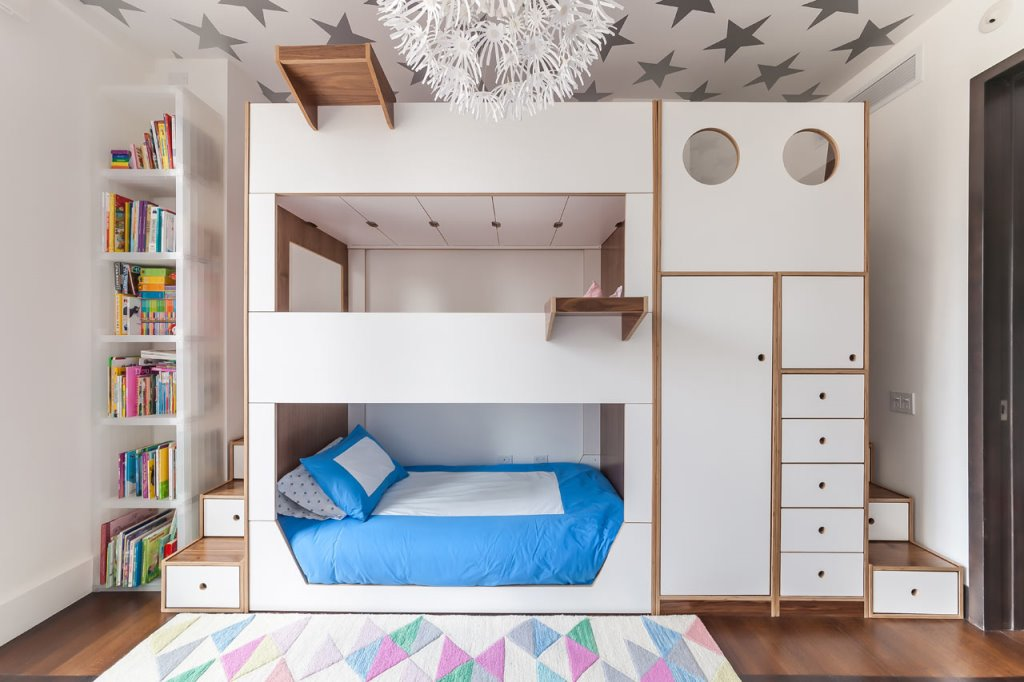 Image of: White Kids Loft Bed with Storage