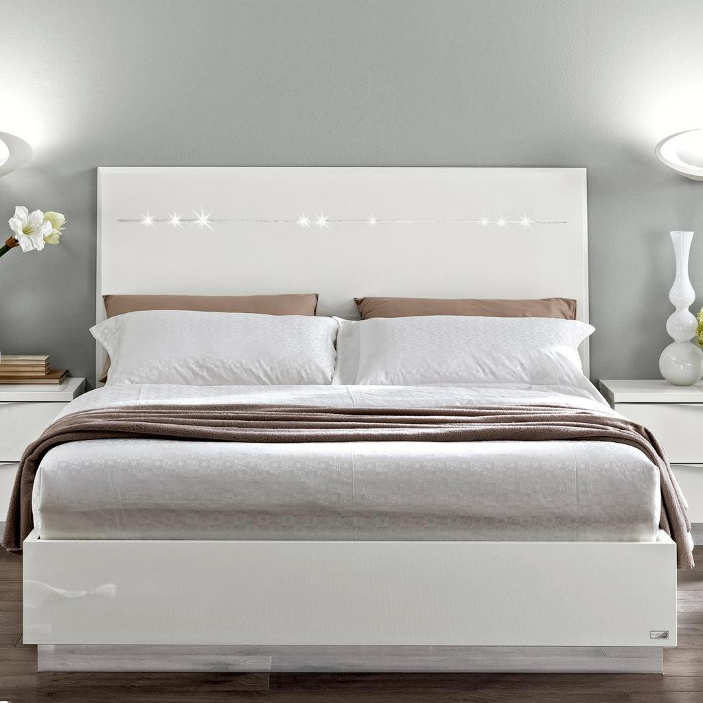 White King Storage Bed with Headboard