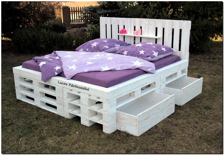 Picture of: White Pallet Bed with Storage