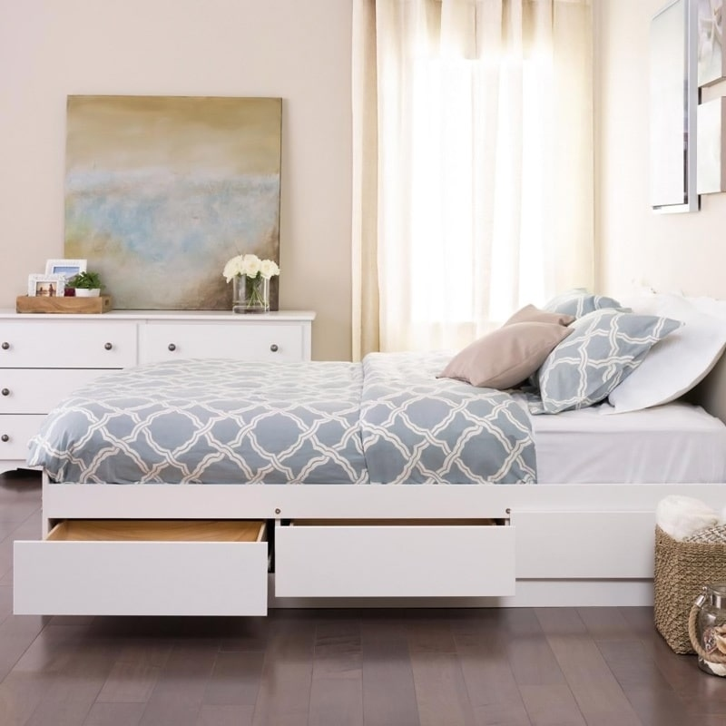 Image of: White Storage Bed Plans